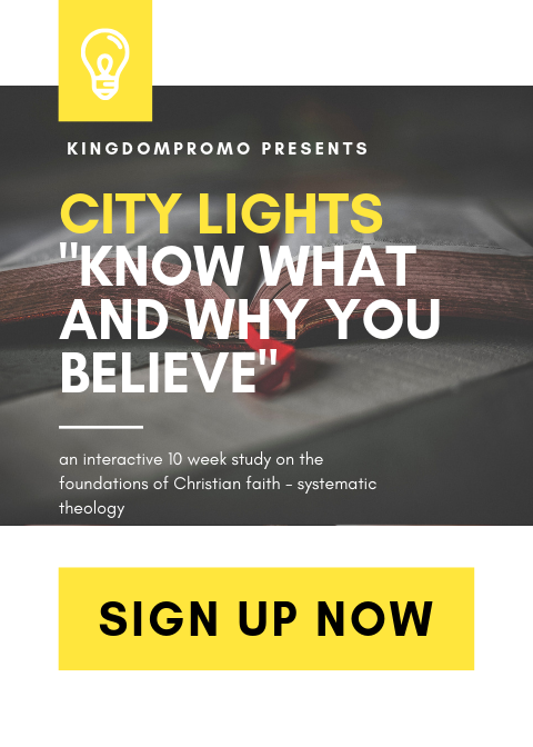 DO YOU KNOW WHAT YOU BELIEVE AND WHY? - Unfortunately many professing Christians don't have a deep understanding of their faith.With a heart to help people grow in their faith, @KingdomPromo is excited to bring back our City Lights group; an interactive 10 week study group that focuses on the foundations of Christian faith. By grace we hope people connect, grow and shine from this amazing course.