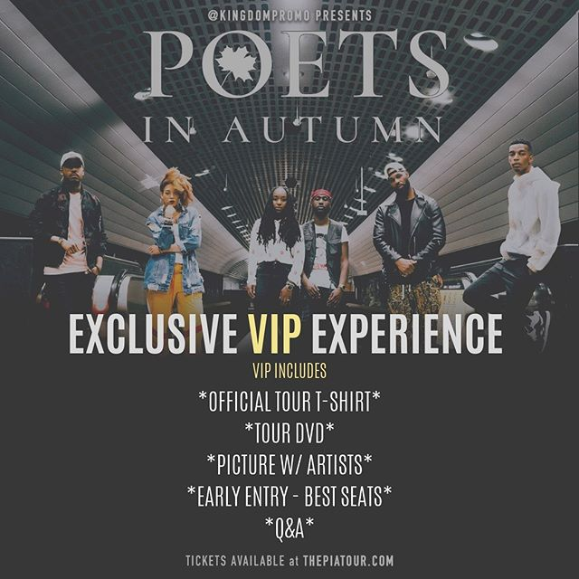 For the first time, #PoetsinAutumn #VIP includes The exclusive tour T-Shirt, Tour DVD, Early Entry, Pic with Artists and Pre-Show Q&A.  It's a special deal arranged by @wordsbyezekiel as this will be the last time all 6 artists will be on tour together.  Come enjoy the #VIP experience.  Tickets available at kingdomtickets.com | thepiatour . . . . #thePIATour #PoetsInAutumn #PoetsInAutumn2019 #poetry #worship #art #events #tour #kingdompromo #kingdompromoevents #Tour #TourLife #GiveLife #Faith #Hope #Events
