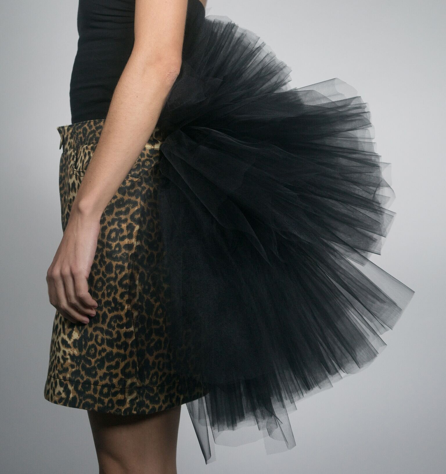 Do it For the Gram Skirt - printed twill skirt with ruffled tulle back detail  available in leopard and camouflage