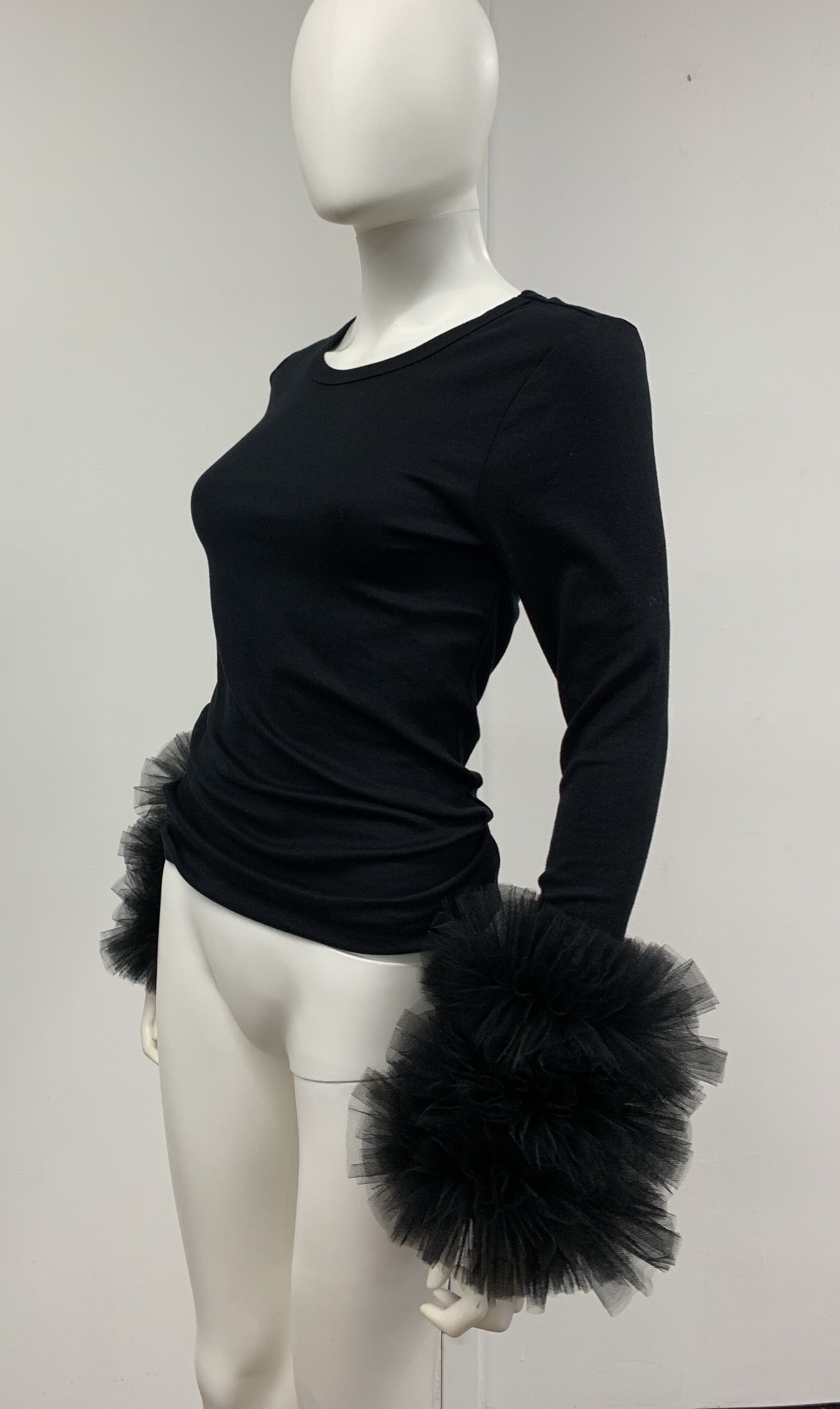 Tulle Cuff Long Sleeve Knit Top available in black and white
