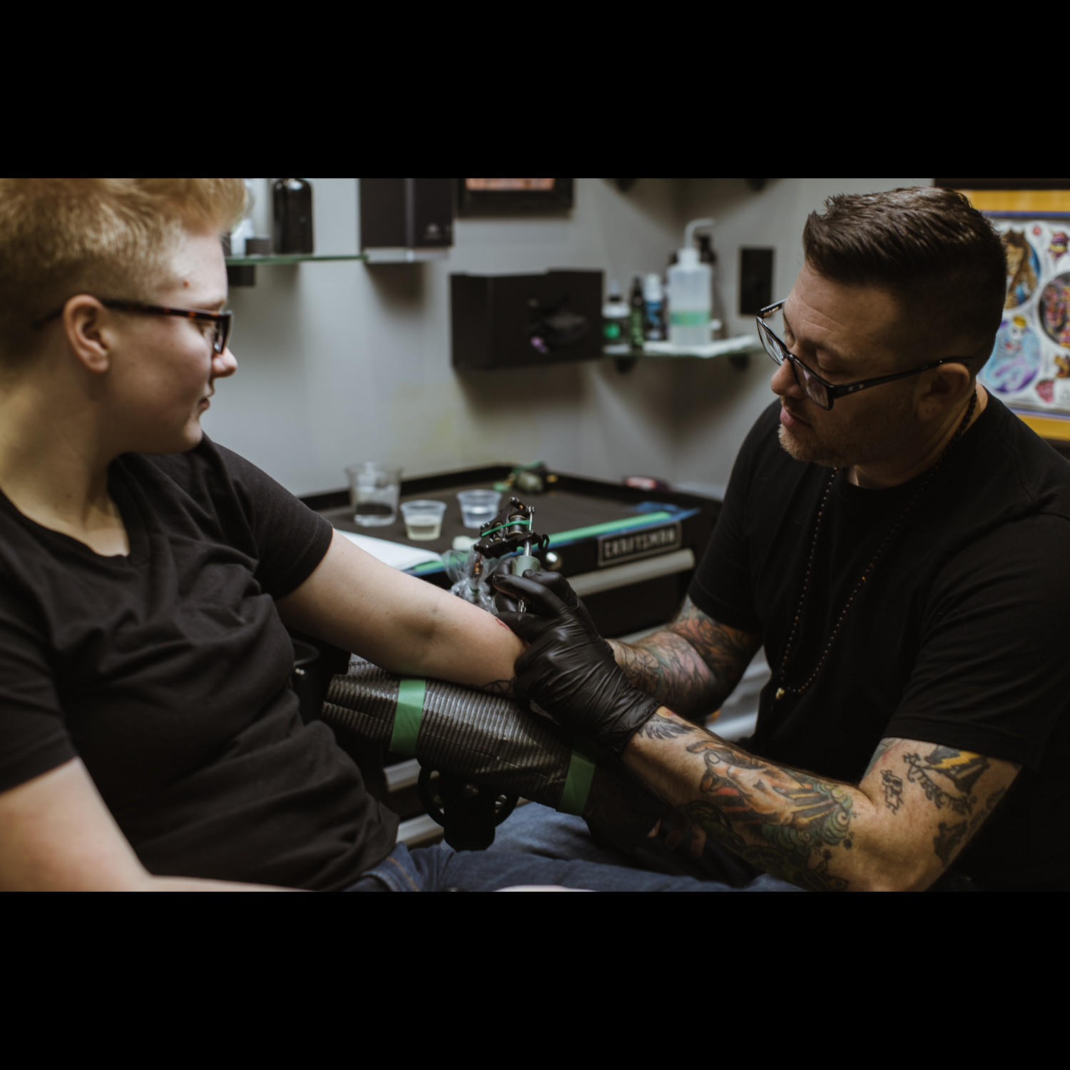 BJ tattooing in the new GreenLion Studios