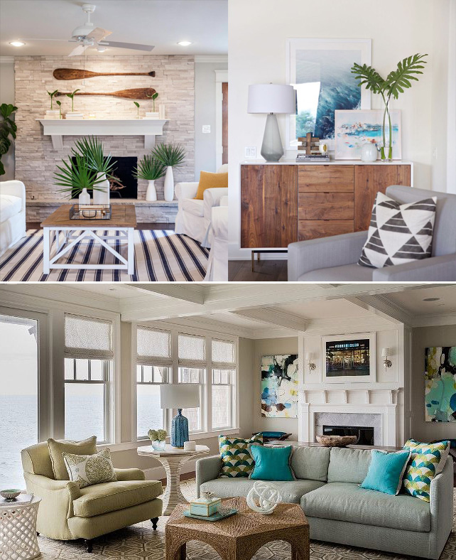Beach inspired colors and seaside decor are a staple of coastal home styles.