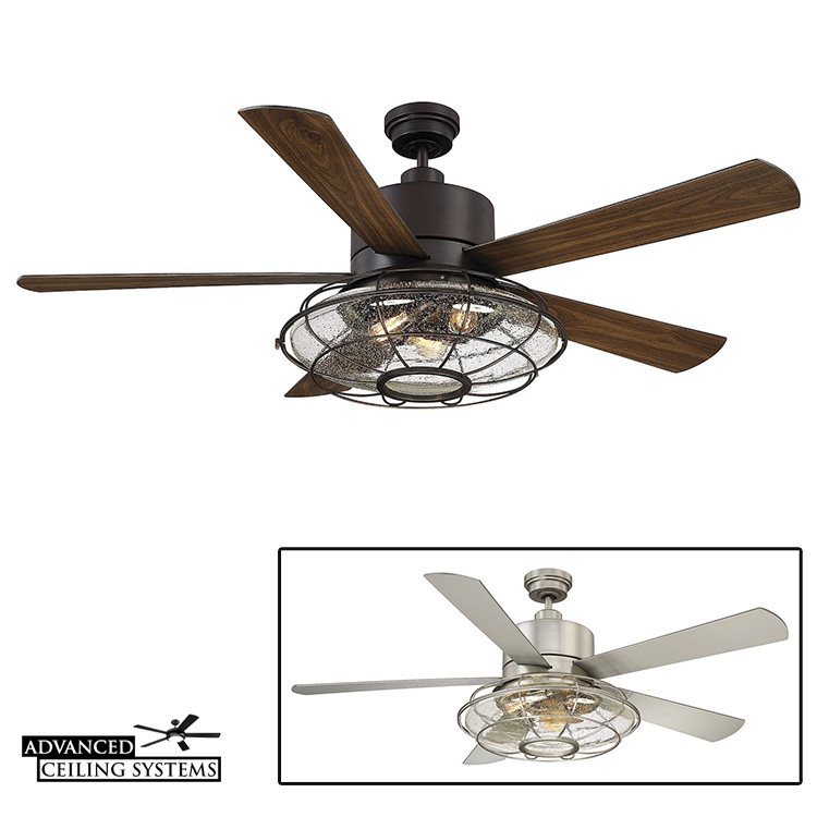 Cage light ceiling fan rustic industrial style