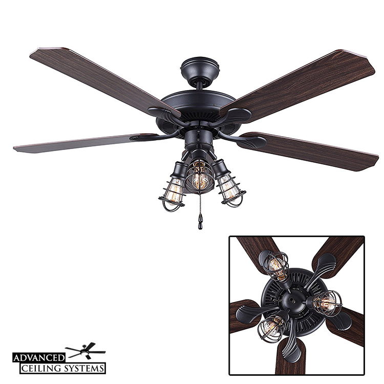 Rustic industrial ceiling fan with 3 separate caged bulbs