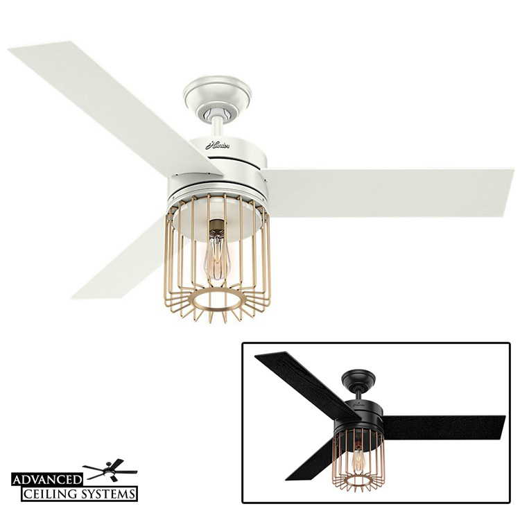 Rustic industrial ceiling fan cage light