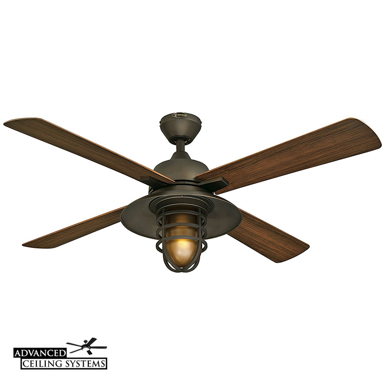 Outdoor ceiling fan with light cage rustic industrial style