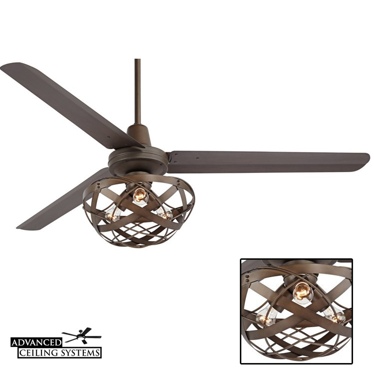 Rustic industrial ceiling fan with cage light