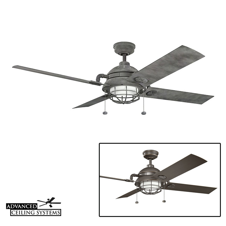 Large ceiling fan with light cage - Industrial rustic