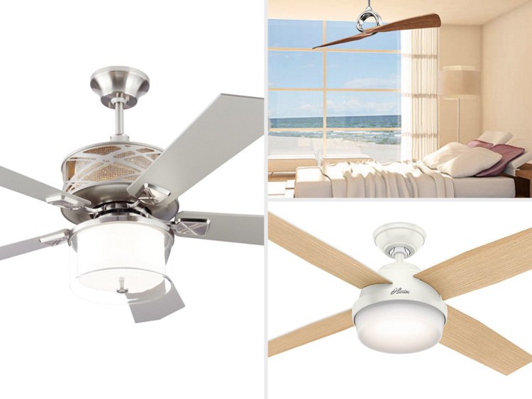 coastal style ceiling fans for beachy bedroom