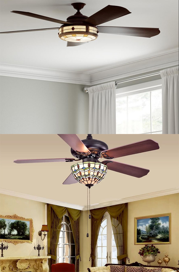 Stained Glass Ceilings Fans can add color and sophistication to just about any home decor style.