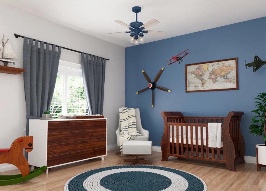 En la imagen: ventilador de techo azul Hunter Hartland