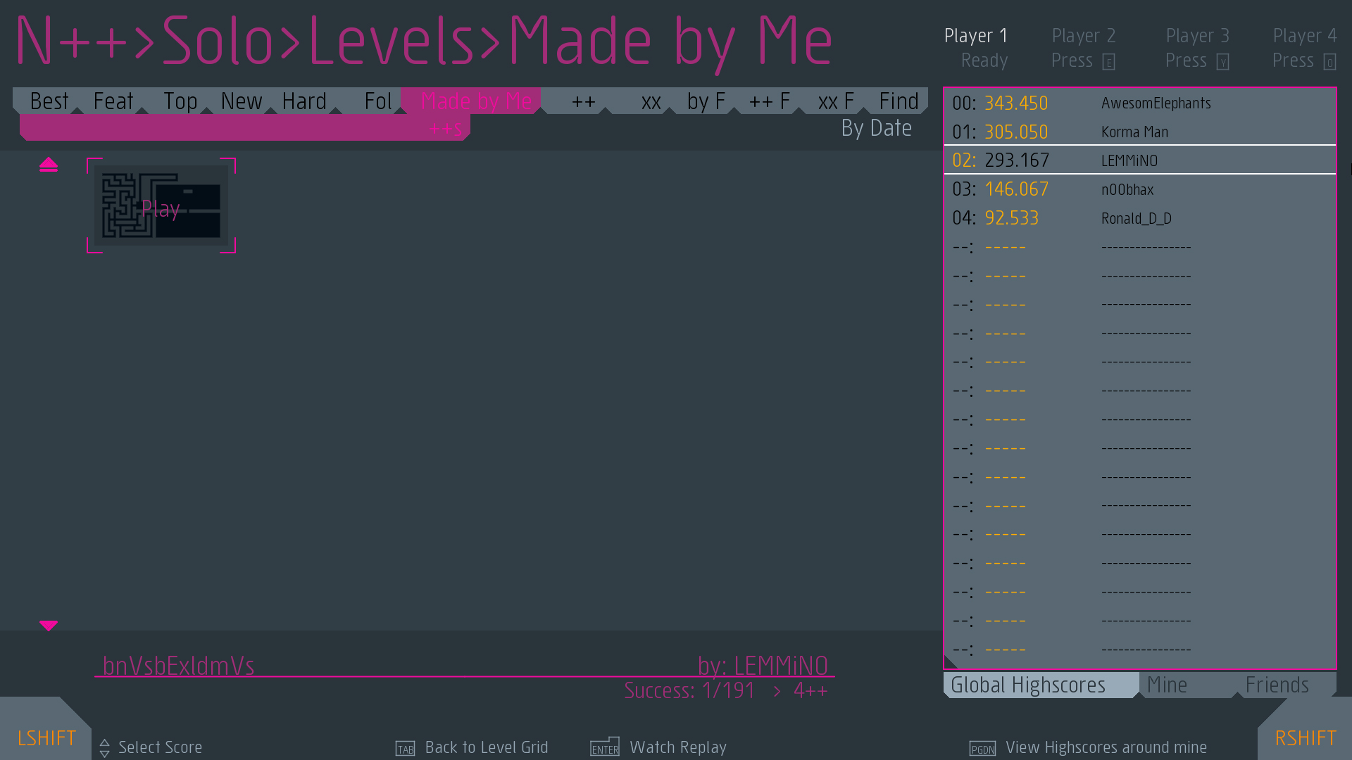 In hindsight, making N++ part of the puzzle was not the best idea as it costs money and only served to stifle participation. I mainly included it because I'm a big fan of the game.