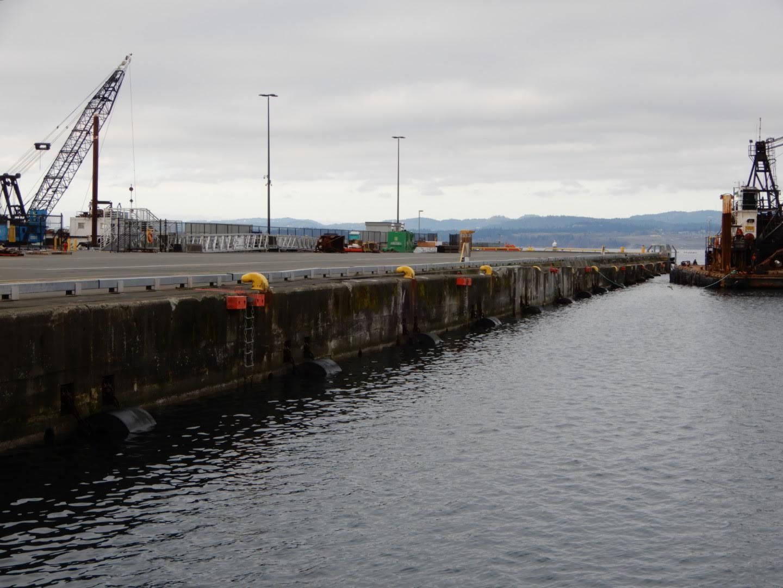 Work happening on Pier B at Ogden Point