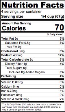 Nutrition & Ingredients — V-Grits