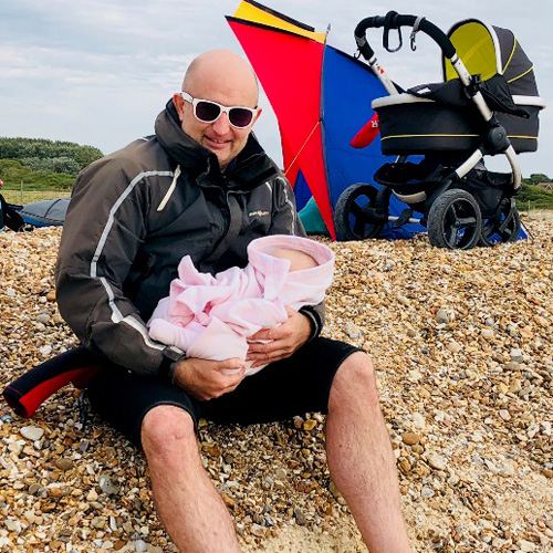 Ivan with Molly on the kite surfing beach at Hayling Island August 2018.