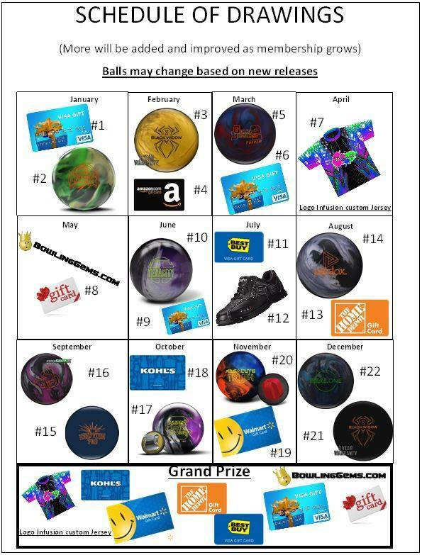 All members are entered into our FREE monthly drawing where we give away multiple prizes like bowling balls, bags, shoes, gift cards and more!! -