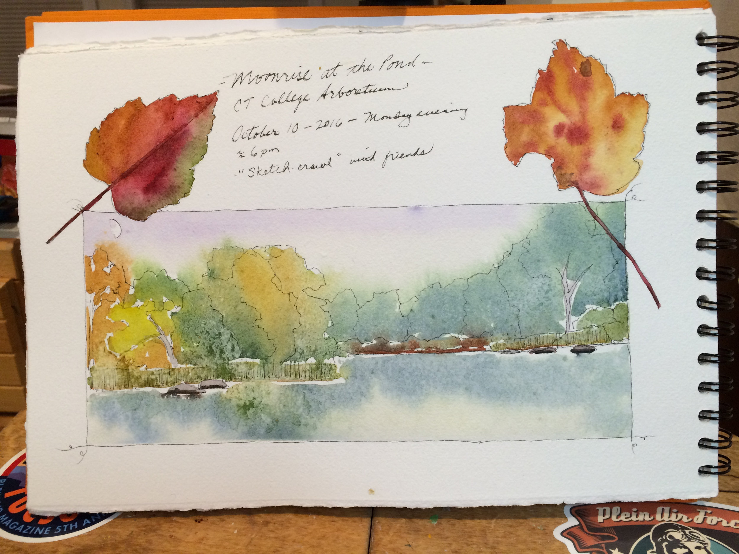 Moonrise at the Pond-Arboretum Sketchcrawl 10-2016.jpg