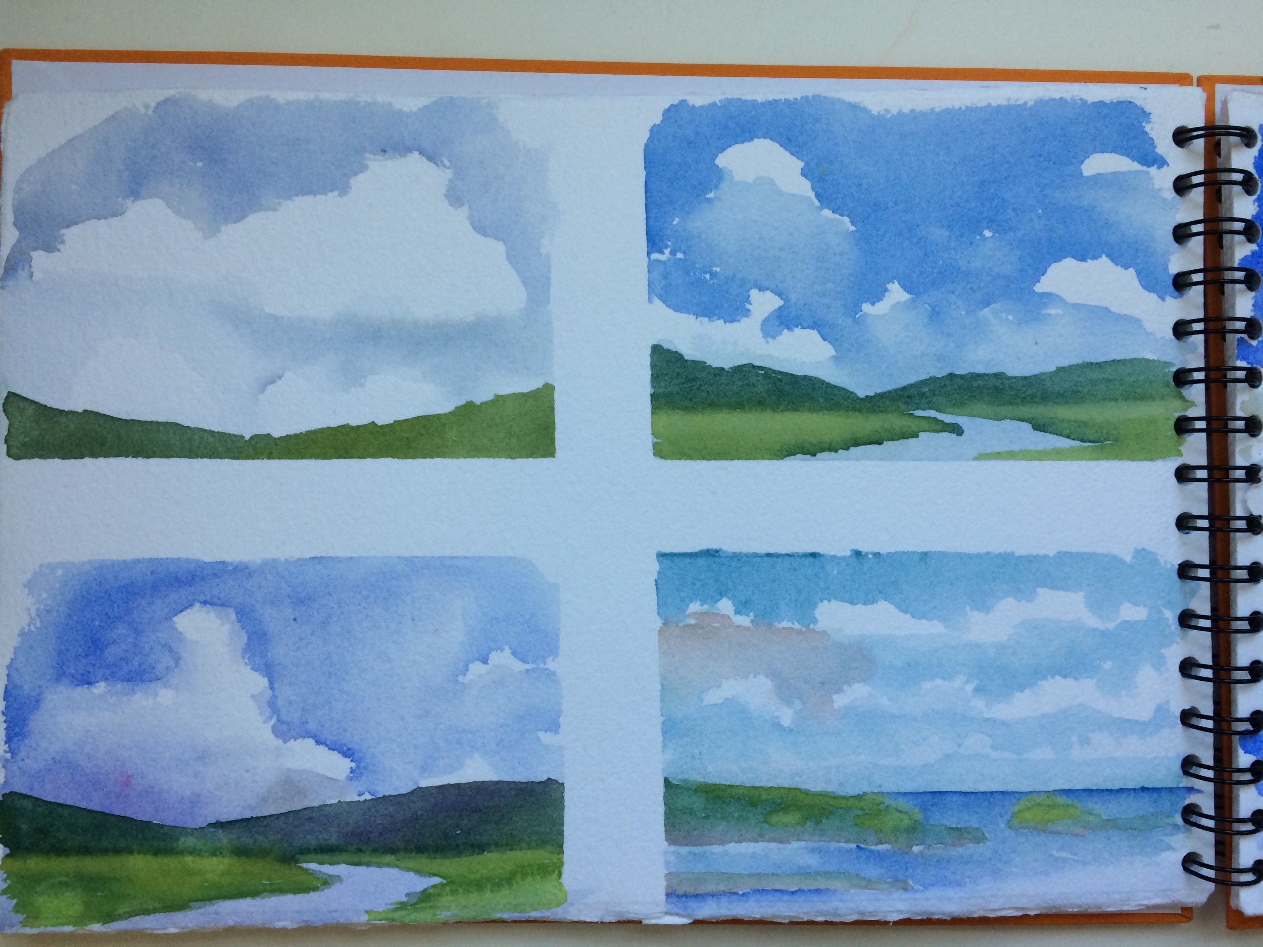 """""""Chunking"""" , or practicing these little groups of cumulous clouds, getting a feel for where I want hard crisp edges, and where do I want to soften them?"""
