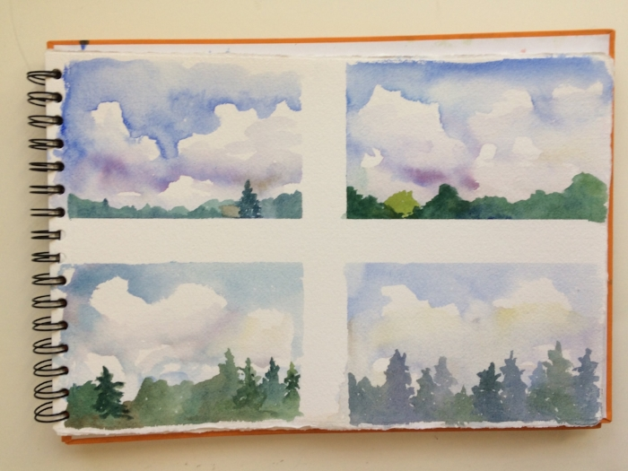 """""""Chunking"""" , more practice with direct painting and clouds."""