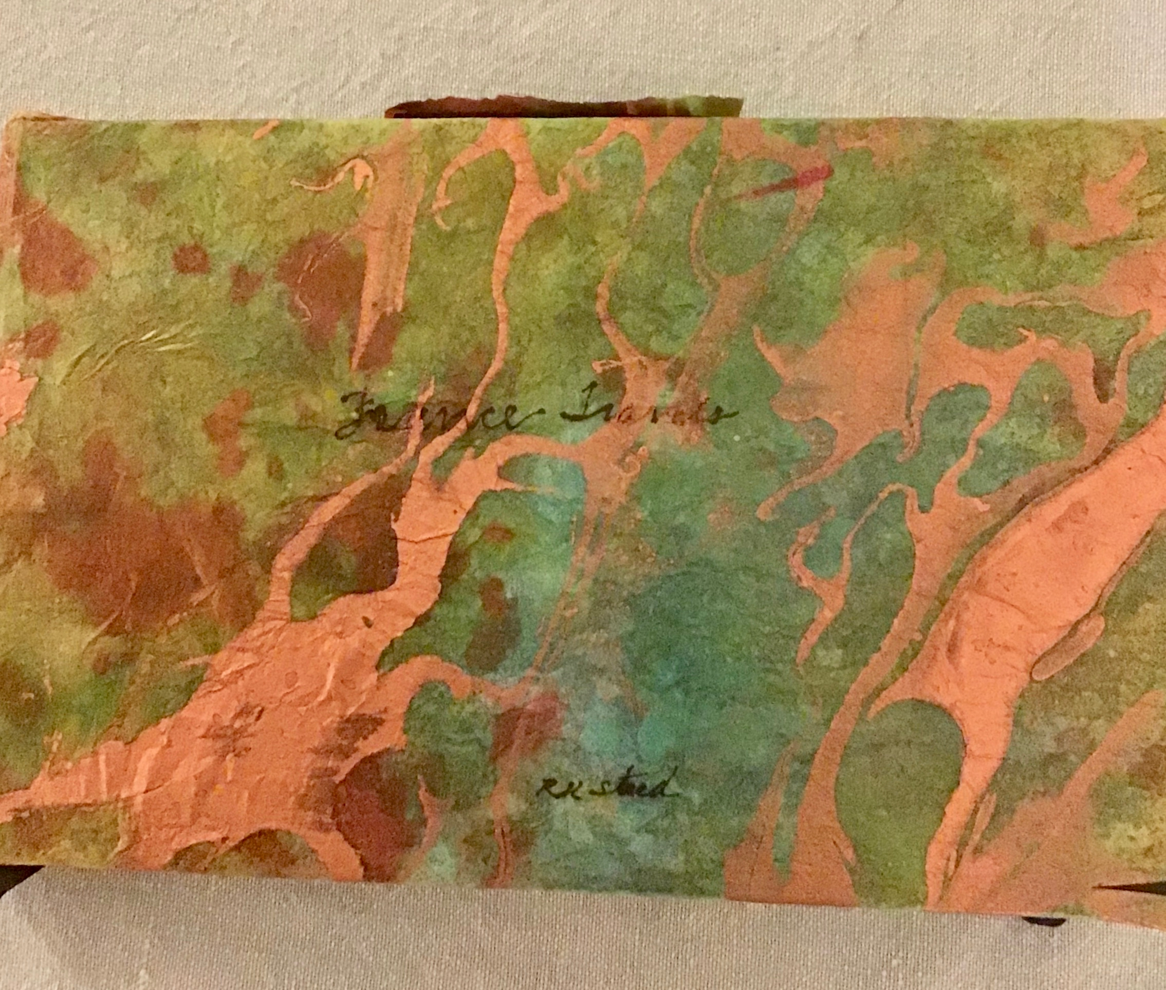 Jerry's Artarama has some beautiful art papers for decoupage. Though the ink doesn't write well on the metallic portion of the paper….this one is a work in progress, and may go through some more transitions!