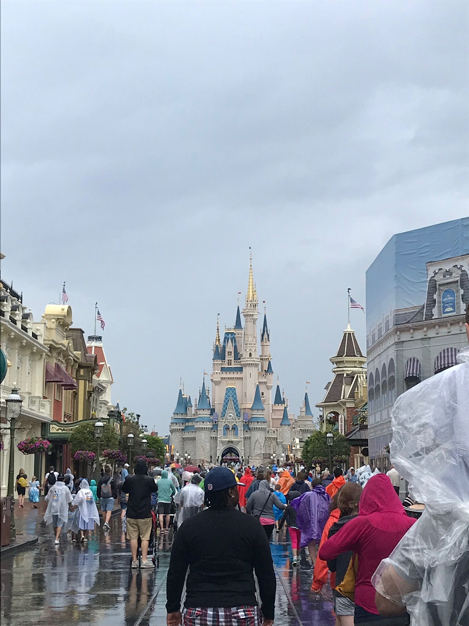 Cinderella's Castle. And people scared of rain.