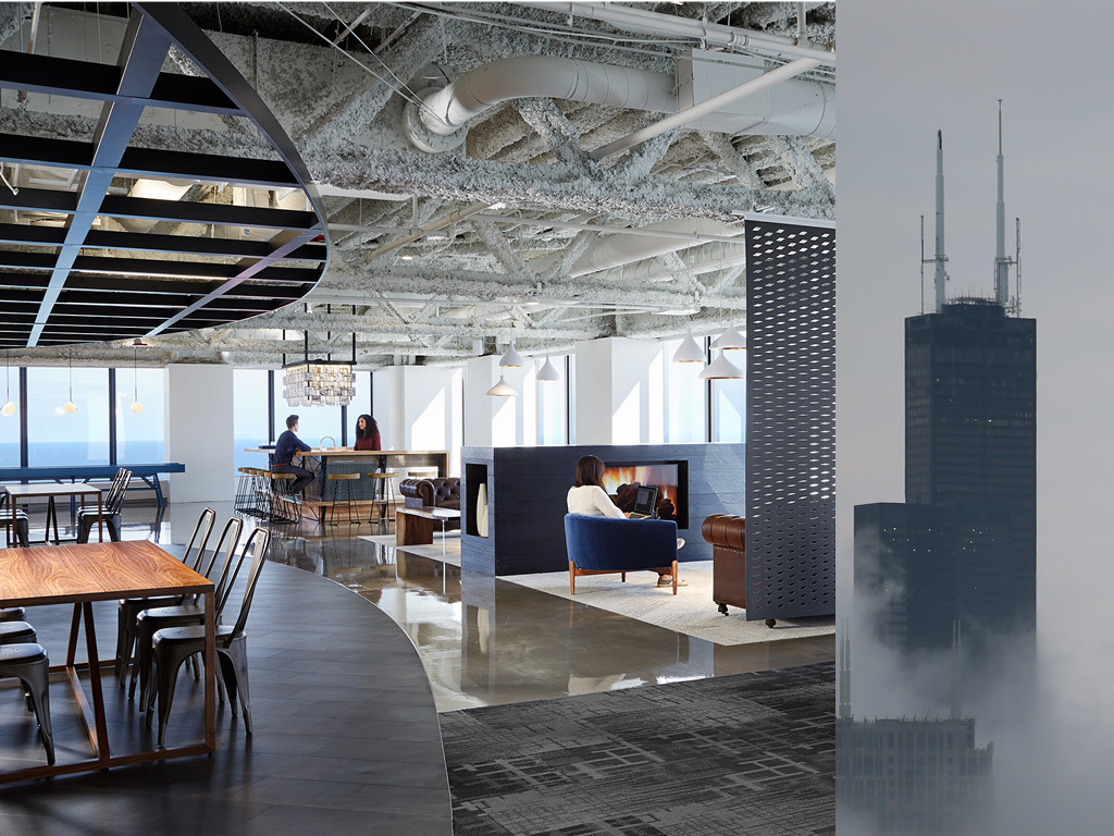 A lofted  Model Office Suite  in Willis Tower. Photo by Steve Hall.