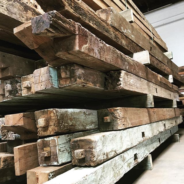 Stacks of 6X6 hand hewn beams in stock!