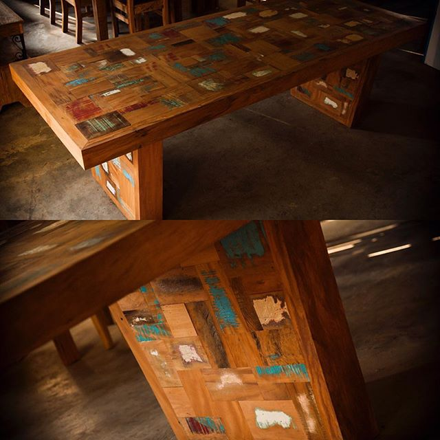 Check out this great table made from painted peroba boards!