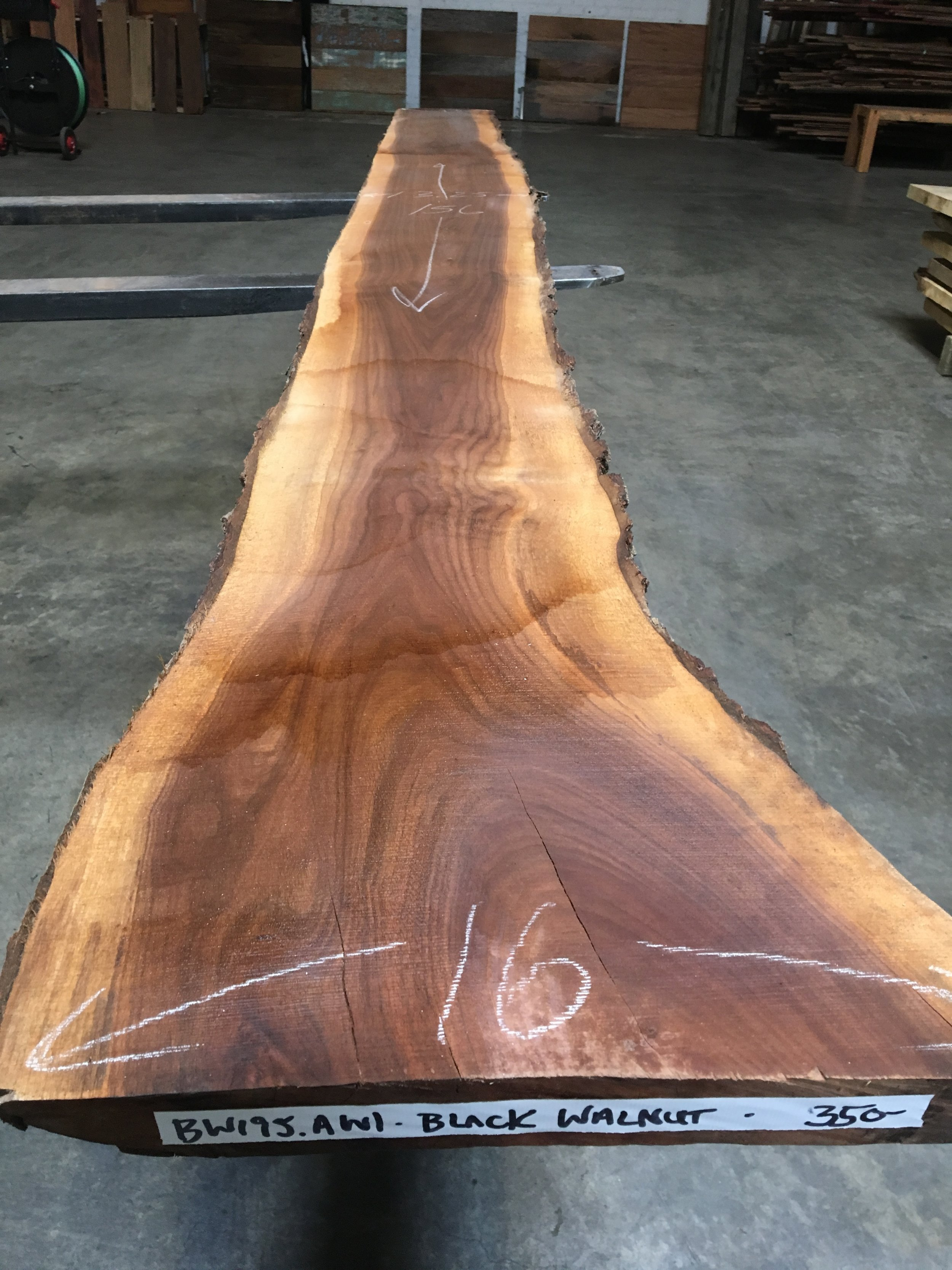 Urban salvaged live edge black walnut slabs, dry and in stock!