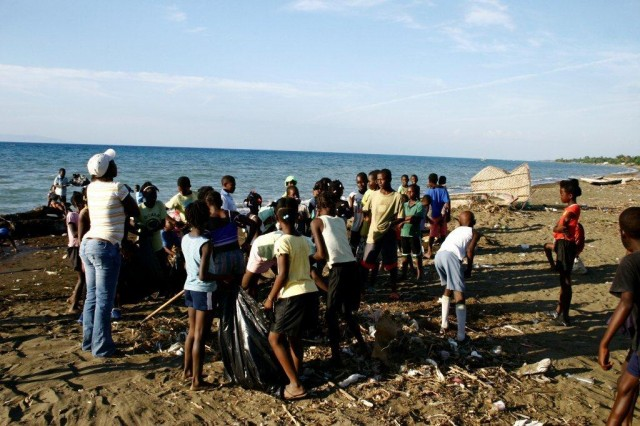 Cleaning the beach at Destra (Photo: Ray Shader)
