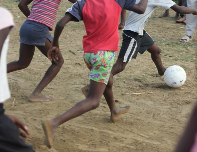 Chasing the ball during our afternoon program in Destra