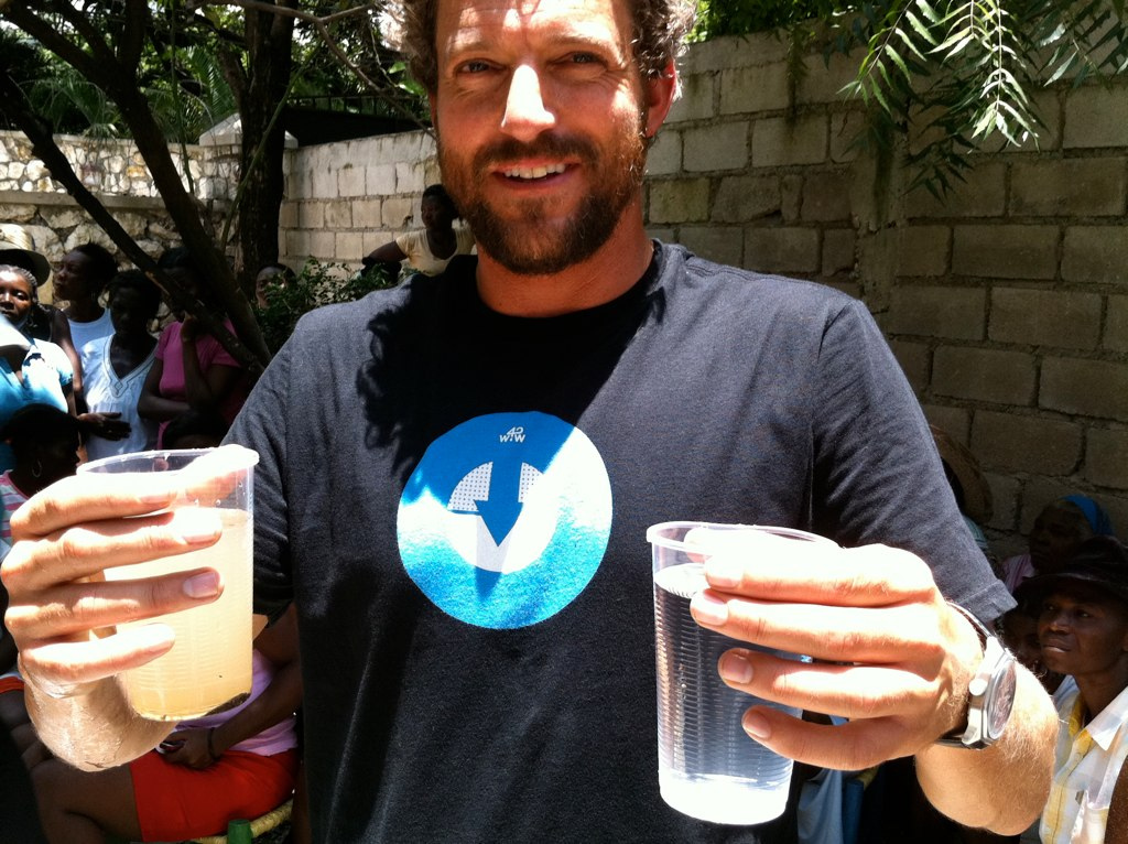 Jon Rose, founder and director of W4W, demonstrates the filter system