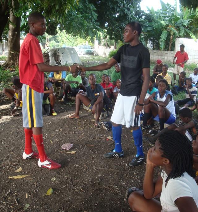 Teenage boys at Chatuley practice a health skit
