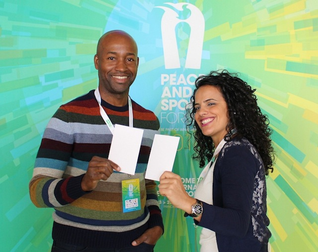 James (left) and FIFA Communications Manager Honey Thaljieh at the International Forum on Peace and Sport in Monaco