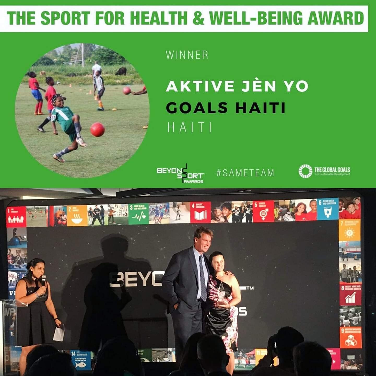 GOALS E.D. accepting the Beyond Sport Award on behalf of GOALS Haiti