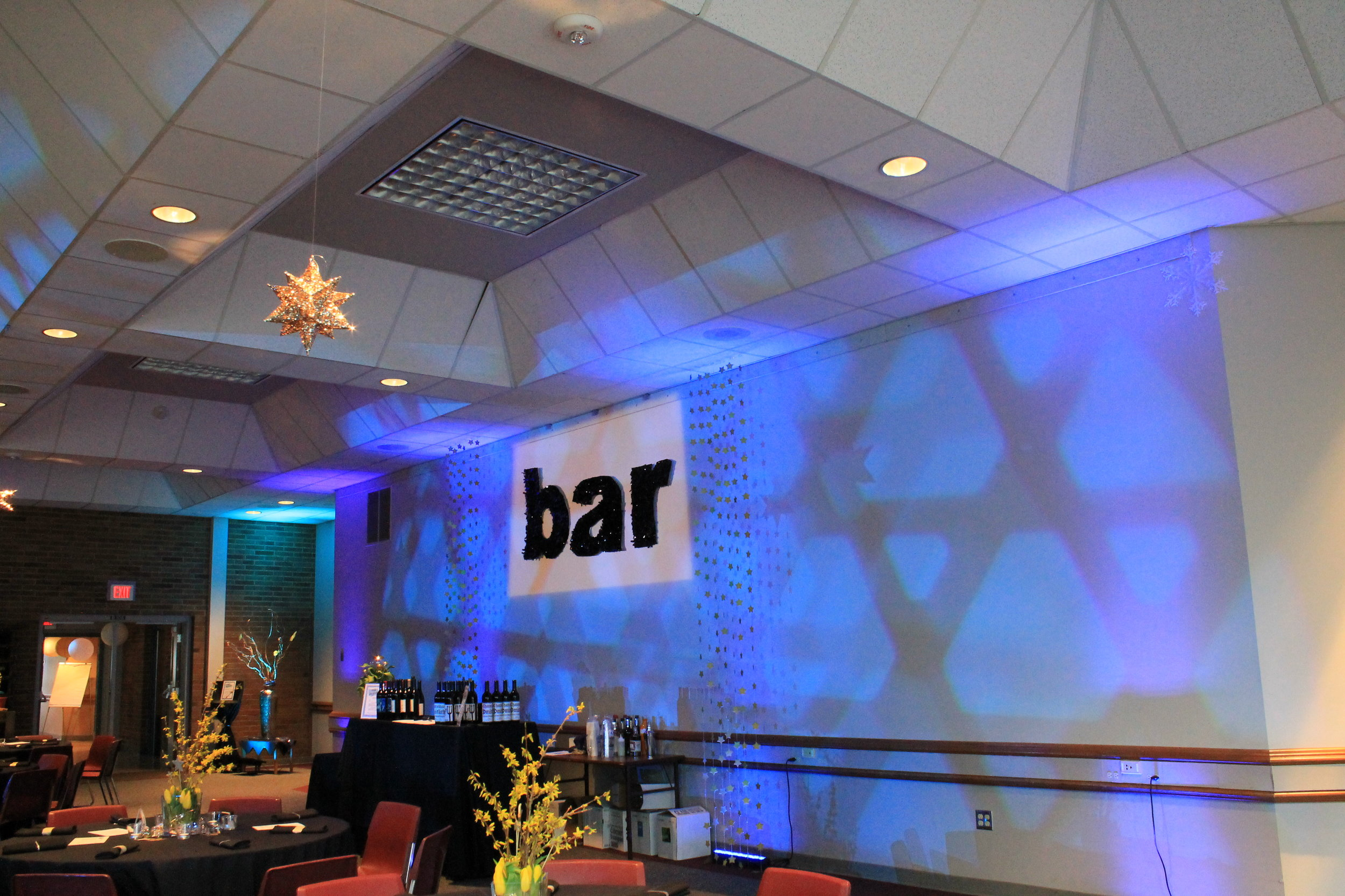 Spot light on the bar sign and pattern gobo's for an auction