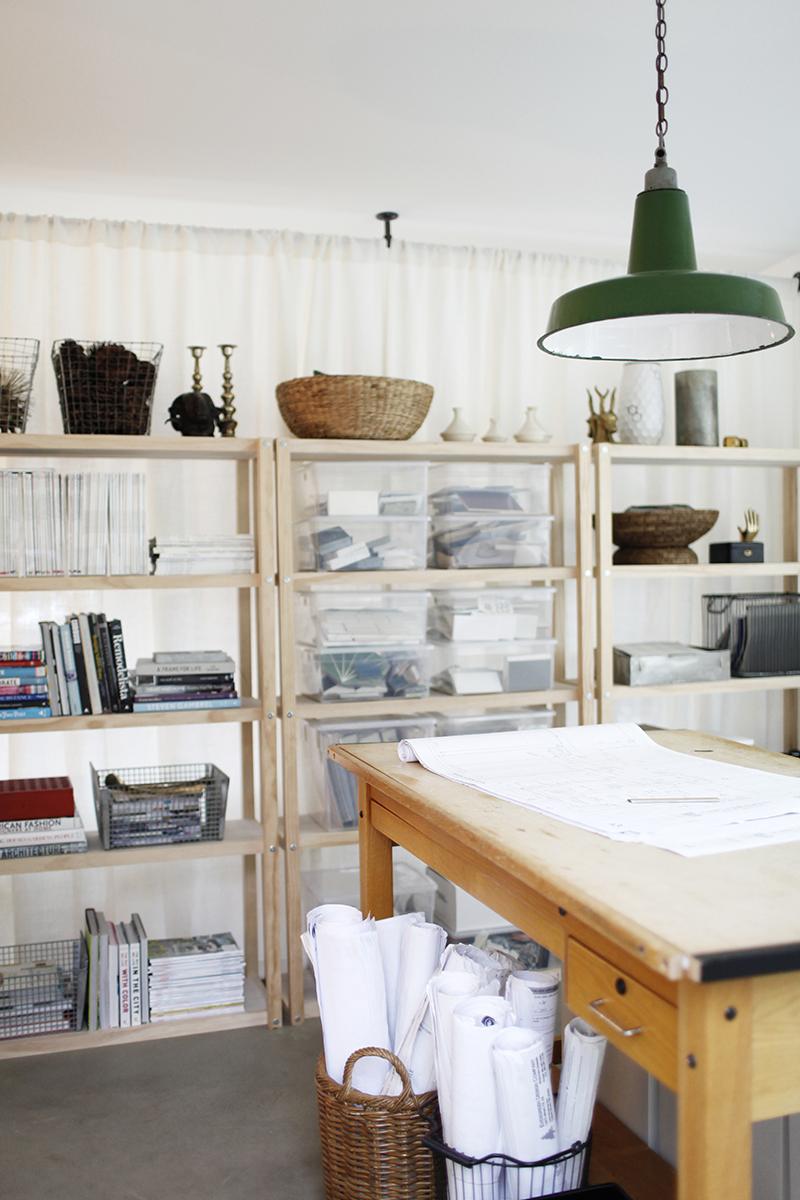 A WORKABLE ATMOSPHERE - All the bins, baskets, and drawer storage in the office help keep things tidy and organized, making the creative environment conducive to getting things done.