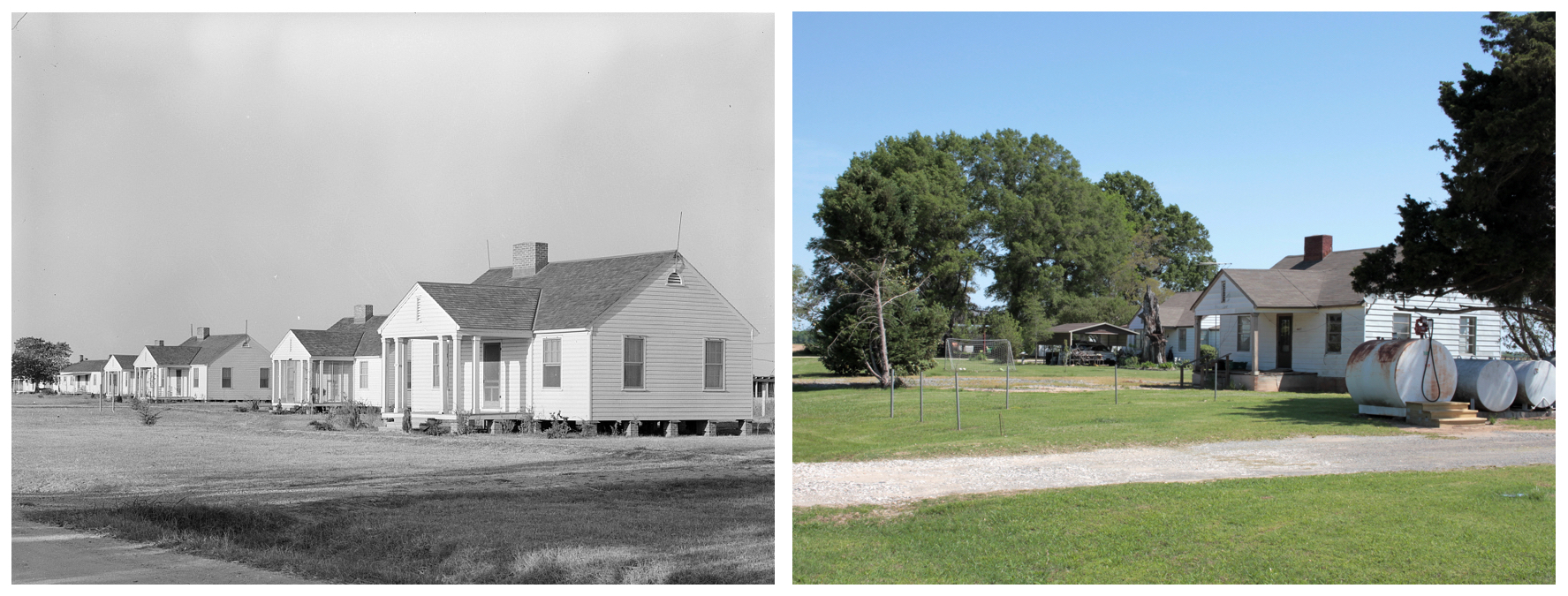 Left: Types of houses. Lake Dick Project, 1938. Russell Lee.  Right: Remaining houses, 2018. James Matthews