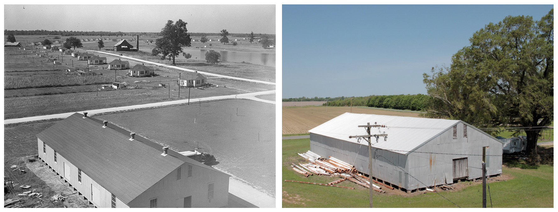 Left: Panoramic view of Lake Dick Project, 1938. Russell Lee.  Right: Panoramic view near Lake Dick, 2018. James Matthews.  I was unwilling to climb any higher up the old water tower, but apparently Russell Lee was more fearless. His photo appears to have been taken from the top of the same water tower, which appears in the next photo.