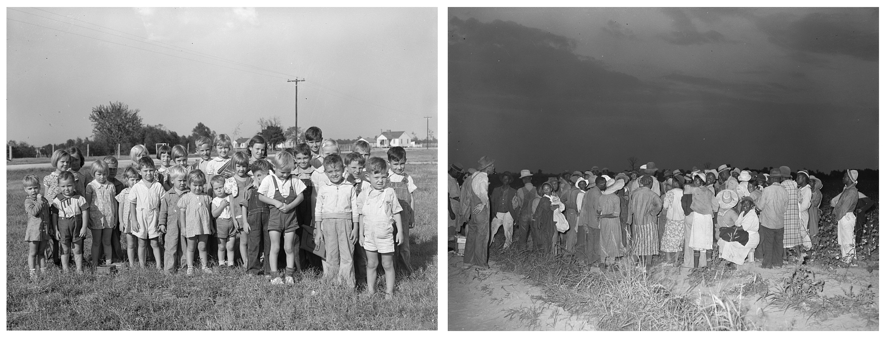 Left: Schoolchildren, Lake Dick Project, 1938. Russell Lee.  Right: Cotton pickers, day laborers, waiting to be paid at end of day's work, Lake Dick, 1938. Russell Lee.