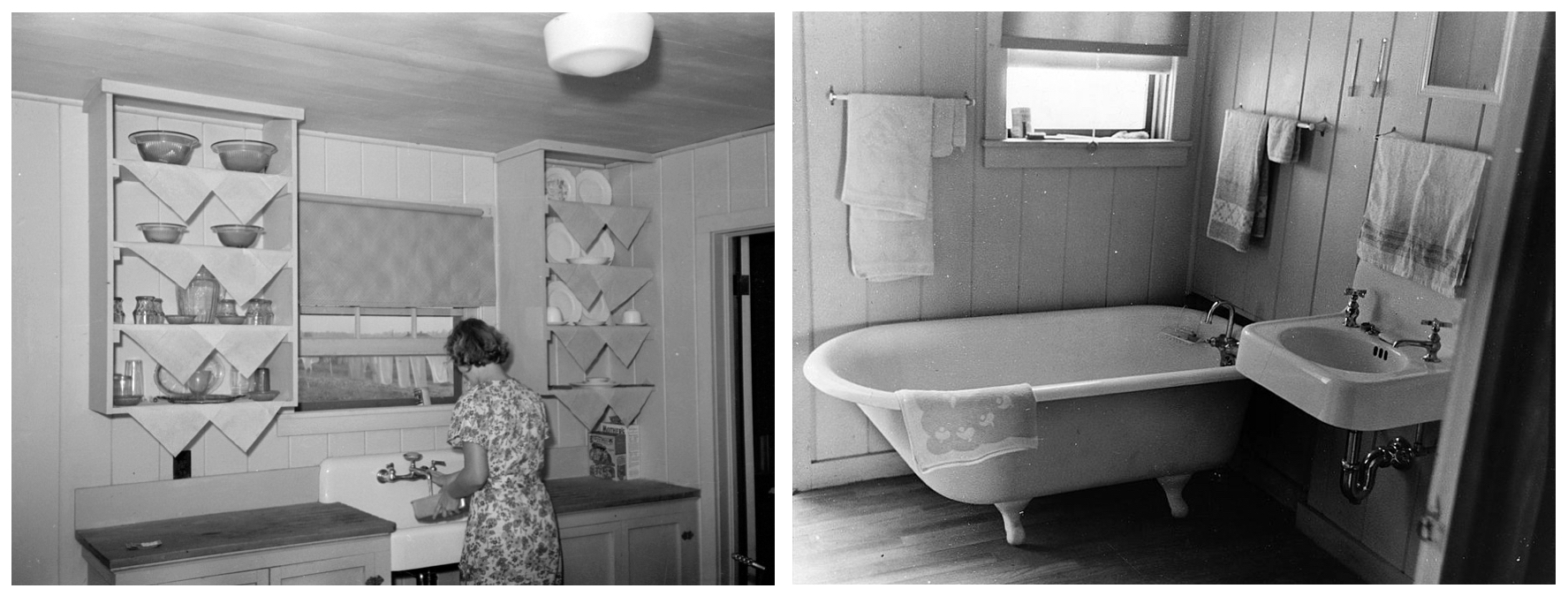Left: Kitchen in farm home, Lake Dick Project, 1938. Russell Lee.  Right: Bathroom in farmer's home, Lake Dick Project, 1938. Russell Lee.