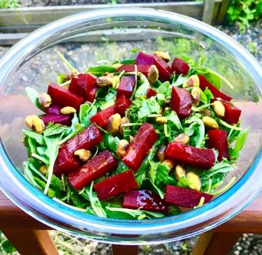 Beet, Pistachio, Arugula Salad
