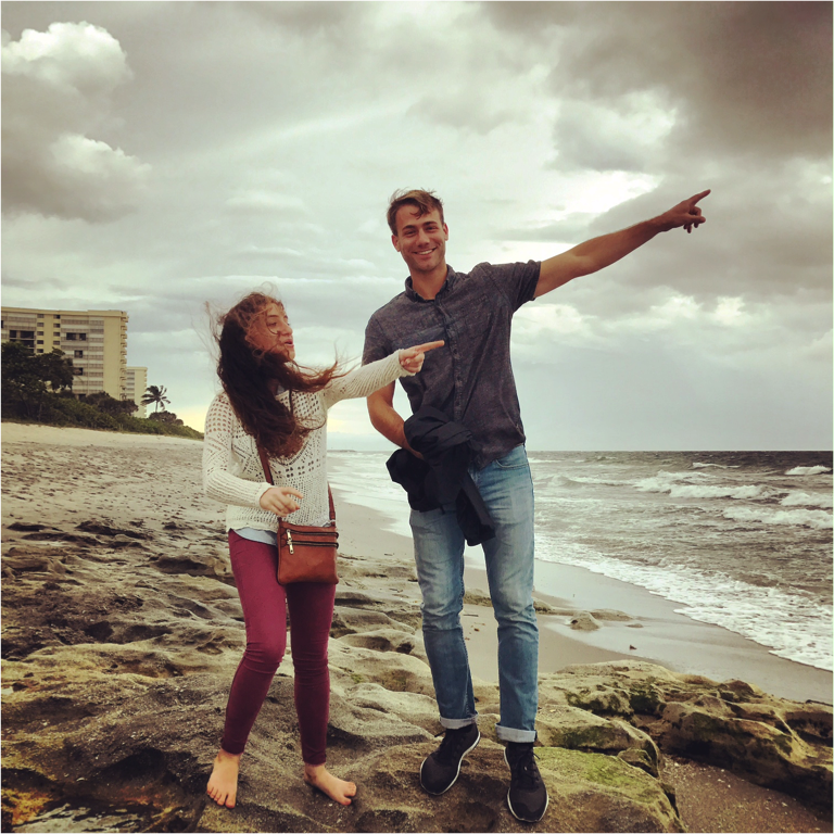 Clara and Justin noting the approach of Hurricane Matthew in Jupiter Florida for our yearly meeting with the Pipkin and Crotty labs Fall 2016