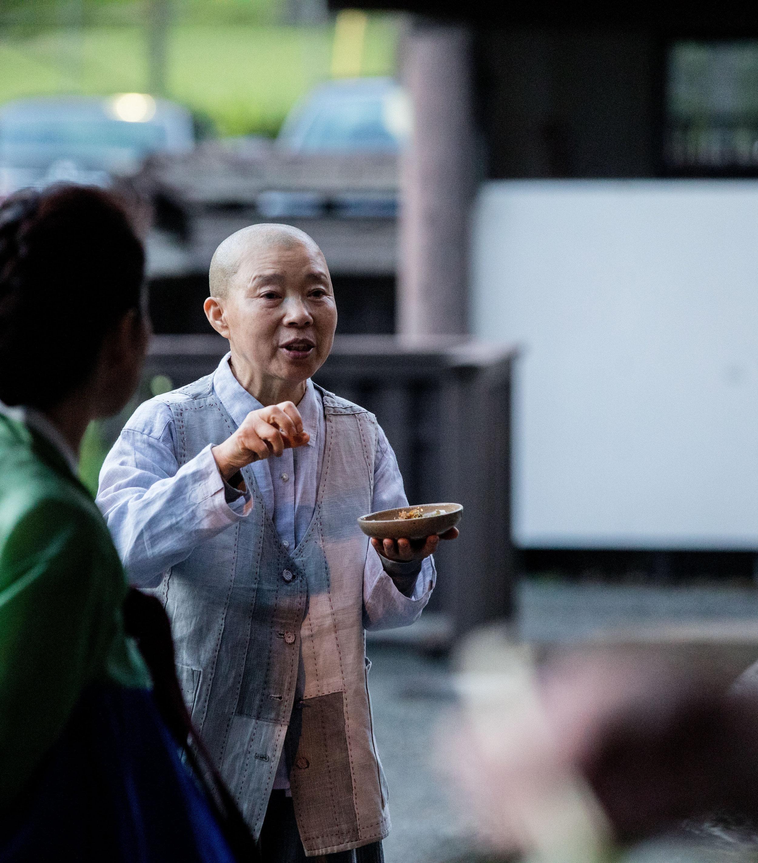 Jeong Kwan Sunim explains a dish served at Daihonzan Chozen-ji.