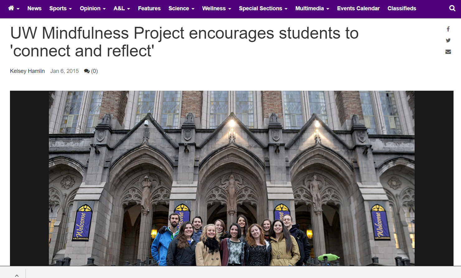 UW Mindfulness Project - Interviewed to comment on my work with the UW Mindfulness Project