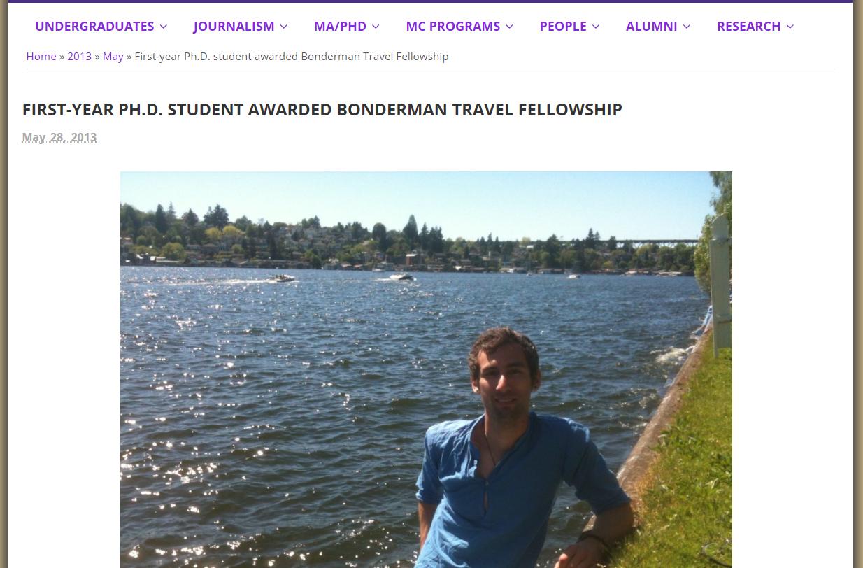 Bonderman Travel Fellowship - Interviewed after being awarded the Bonderman Travel Fellowship