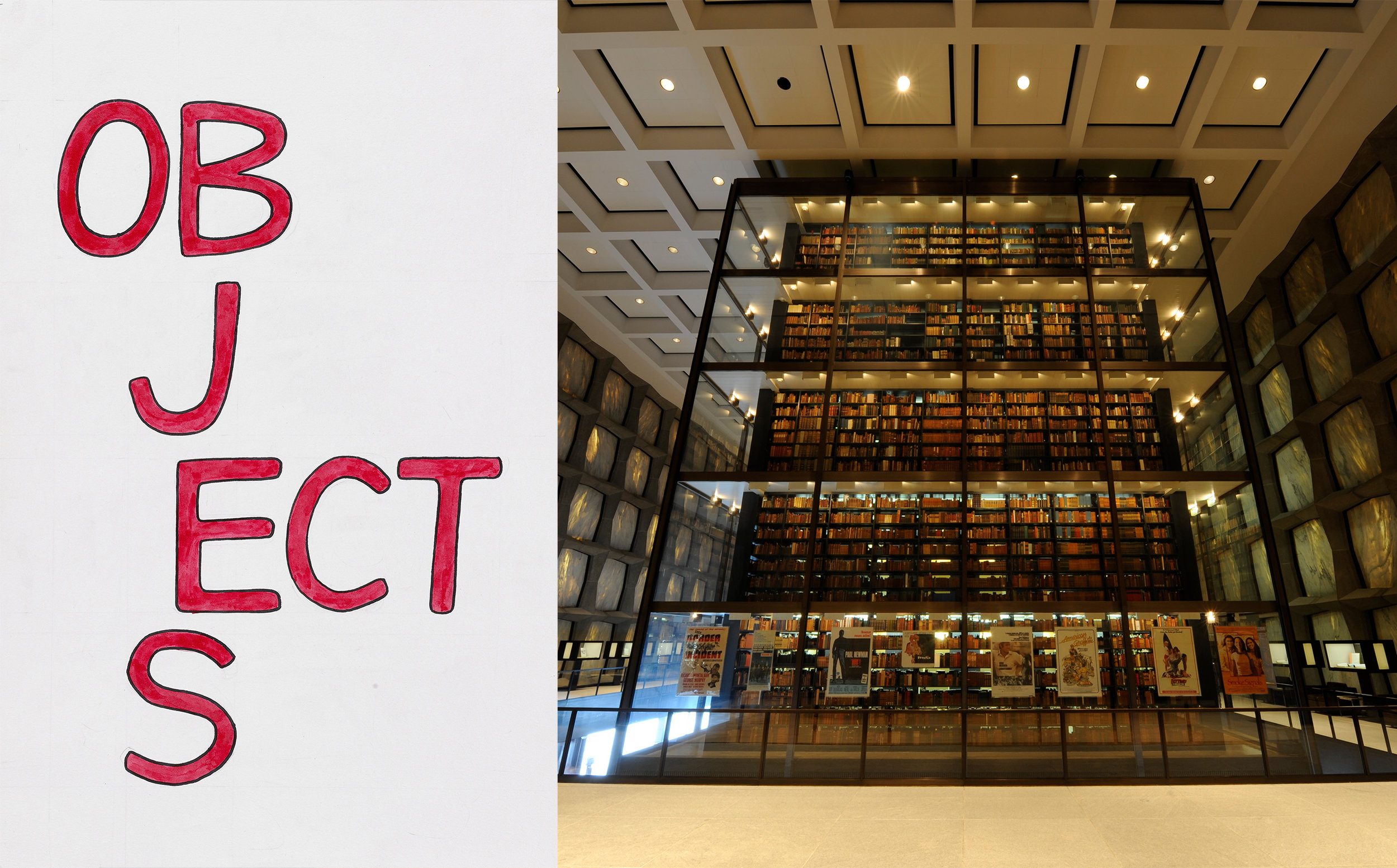 Logo for Tender Buttons: OBJECTS and interior shot of the Beinecke Rare Book & Manuscript Library. Photo credit: Beinecke Digital Studio.