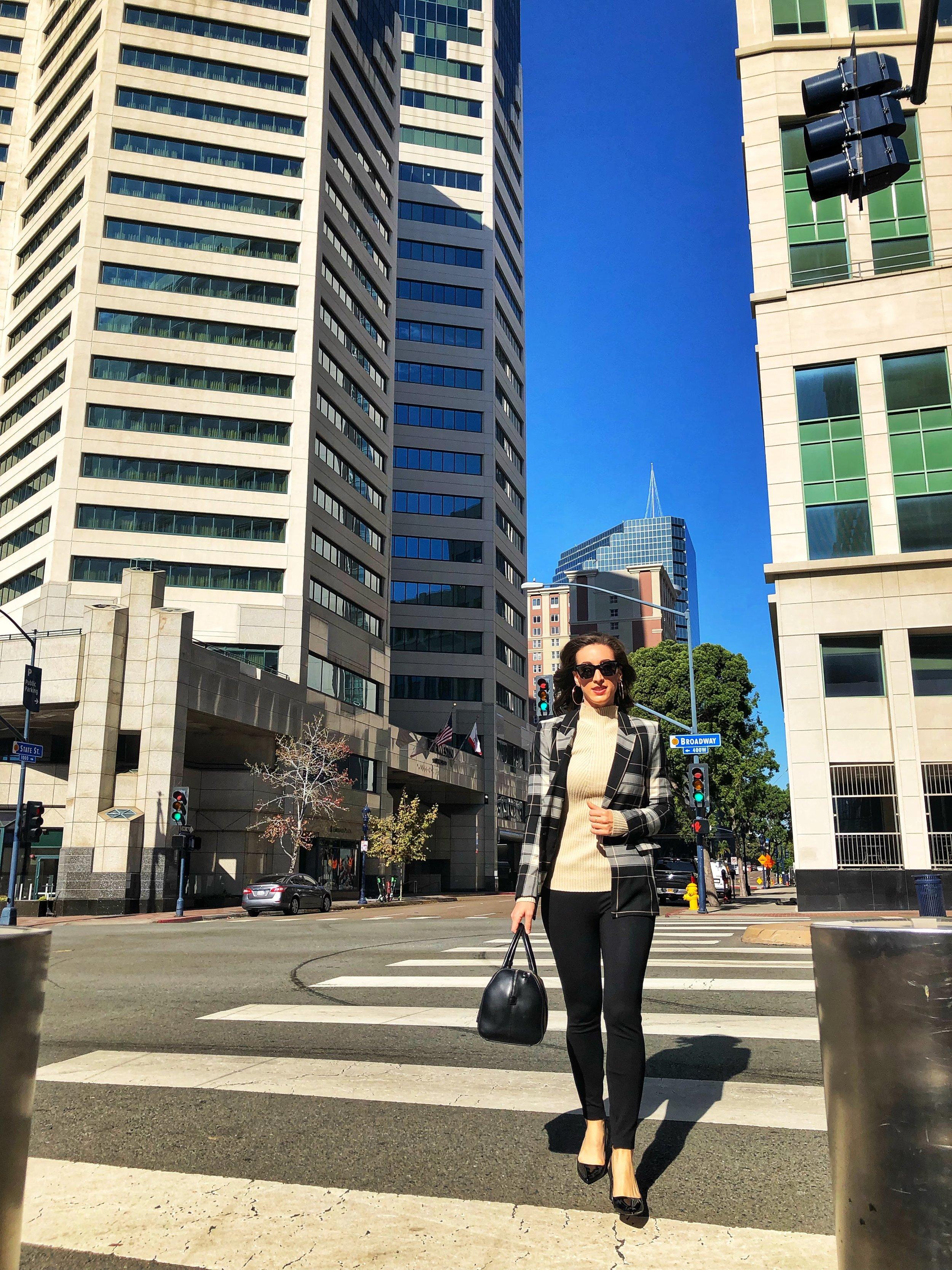 Commuting to work, work style Downtown San Diego, Emerald Plaza Westin Hotel