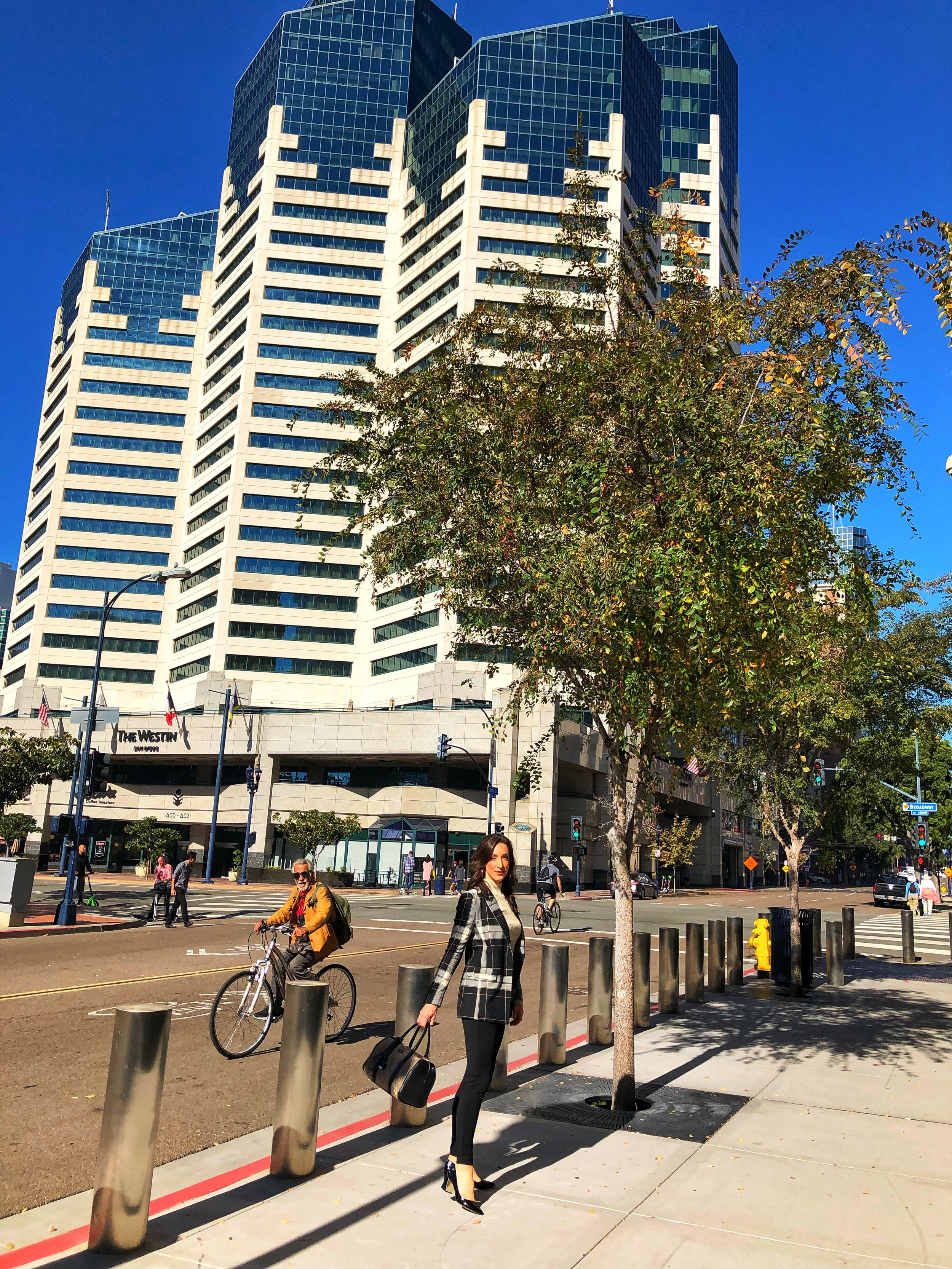 Office Style Downtown San Diego, Emerald Plaza Westin Hotel, Biking and commuting to work
