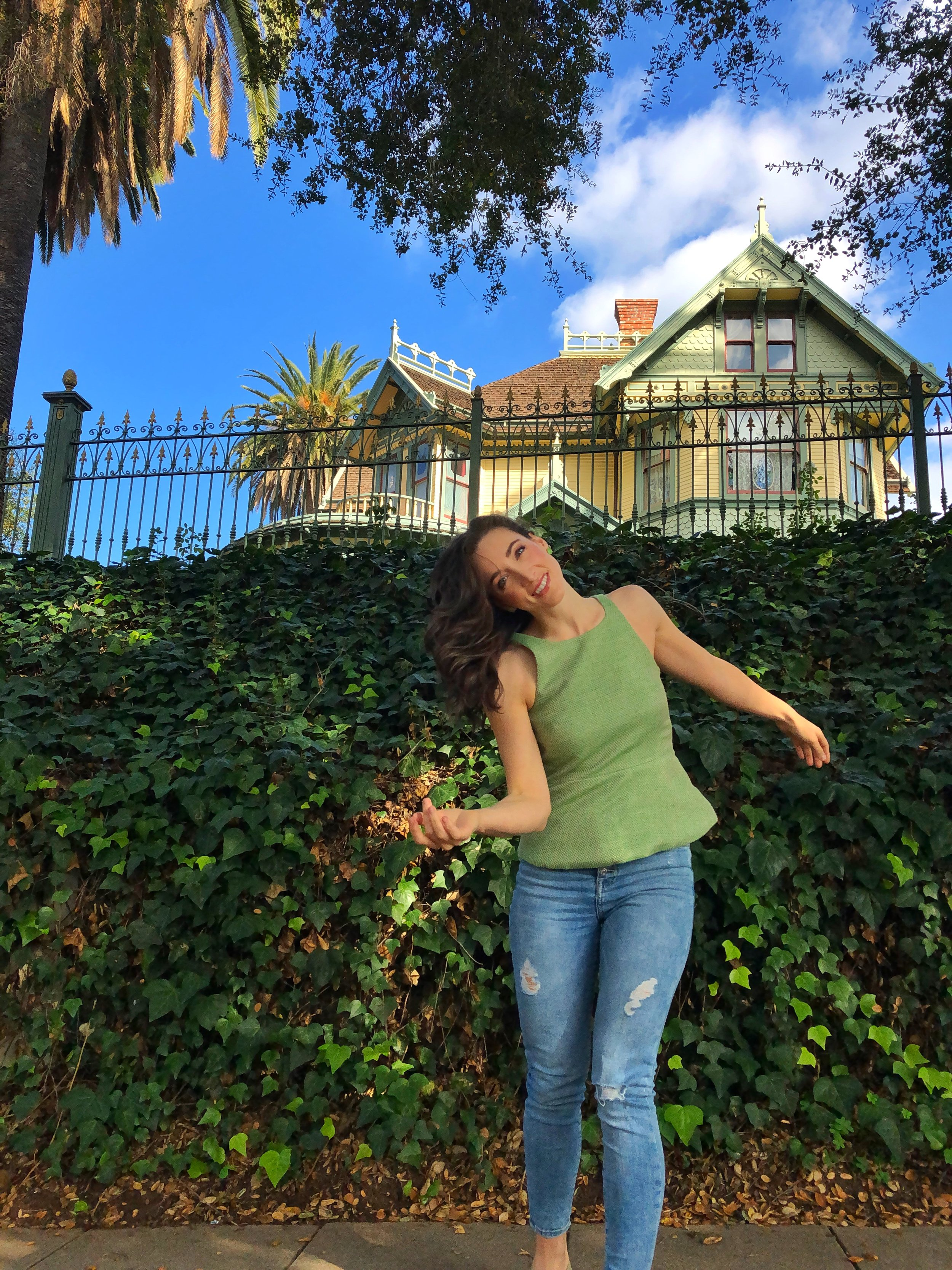 Old Historic District of Escondido. Green tweed banana republic peplum top and Elie Tahari flats